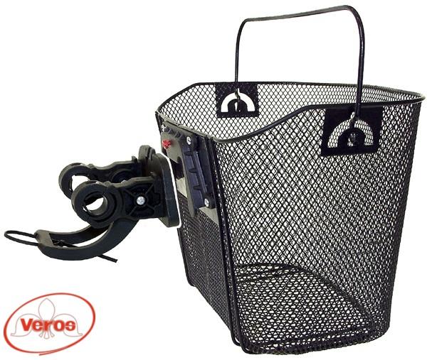 Багажник/корзина HB-025 на руль с ручкой 310 х 230 х 230 мм быстросьемная замок черный