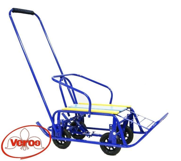 Санки ВЭЛ-5 BКб спинка ручка полозья 30 мм выдвижные 4 колеса синий